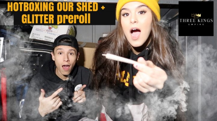 HOTBOXING OUR SHED WITH A GLITTER PRE ROLL ?!