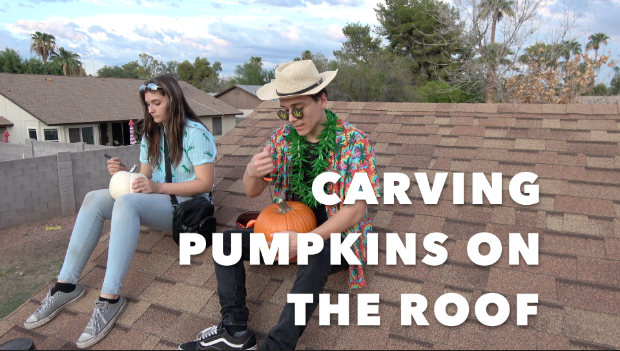 CARVING PUMPKINS ON THE ROOF!!!