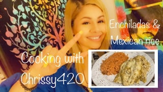 Cooking with itschrissy420 Episode 1 Enchiladas and Mexican rice