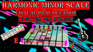 Harmonic Minor Scale Virtual Practice Loop (3-Notes Per String)