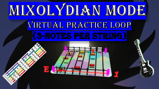 Mixolydian Mode Virtual Practice Loop (3-Notes Per String)