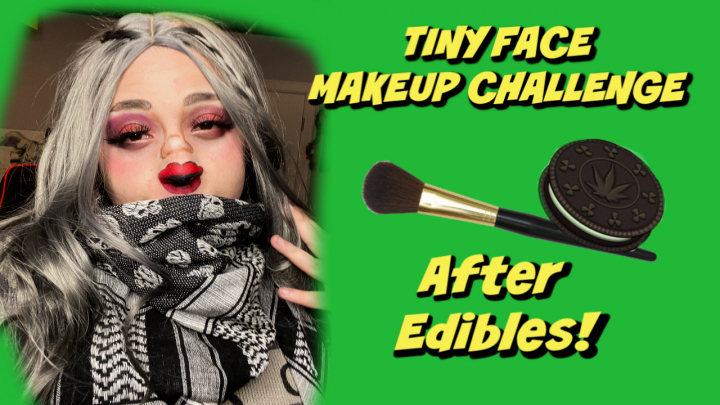 TWT Comedy Challenge!   Tiny Face Makeup Challenge!  After Edibles! 