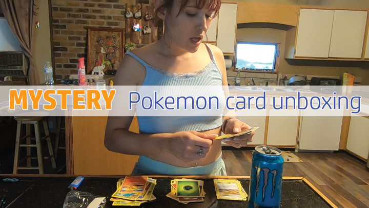 Going through a mystery stack of Pokemon cards