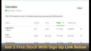 Marijuana Stocks are moving up - Get 1 Free Stock through Robinhood and invest in pot stocks with the profits