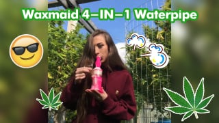Smoke Sesh|Waxmaid 9.3 Inch 4-IN-1 Silicone Glass Double Percolator Water Pipe